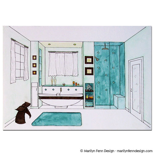 Interior Design Perspective Drawing - Master Bathroom - Tub and Shower ...