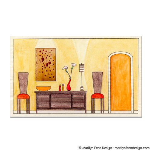 Illustration portfolio of marilyn fenn artist as designer for Dining room elevation