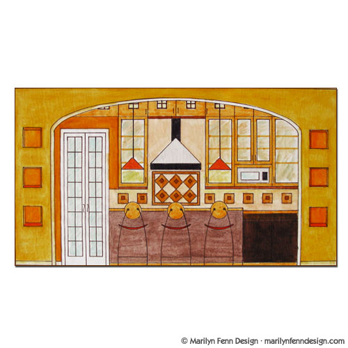 Kitchen Design Elevation: Illustration Portfolio Of Marilyn Fenn: Artist As Designer