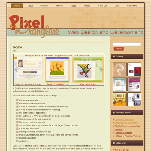 Pixel Wranglers website, version 2