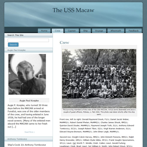 The USS Macaw website