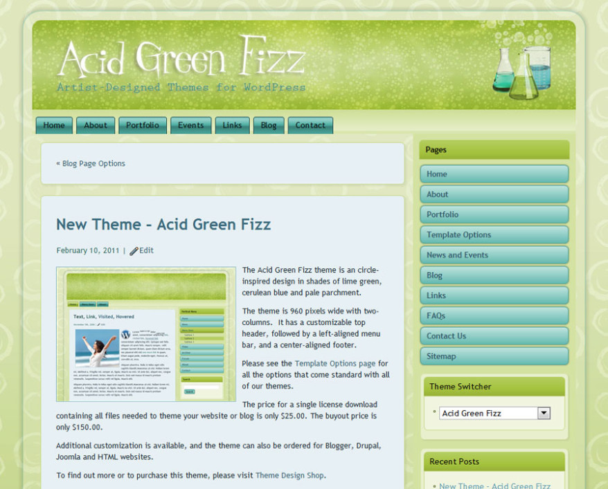 Acid Green Fizz WordPress Theme