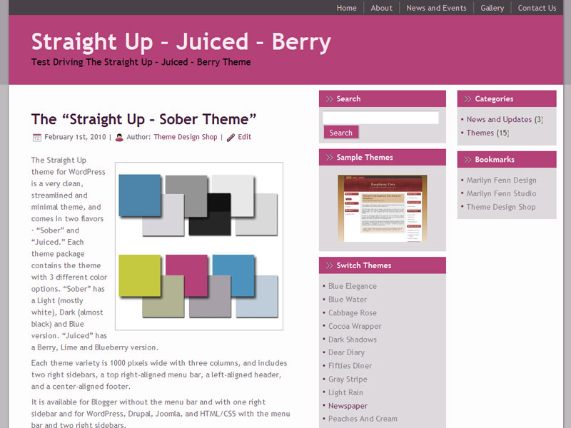 Straight Up Berry WordPress Theme
