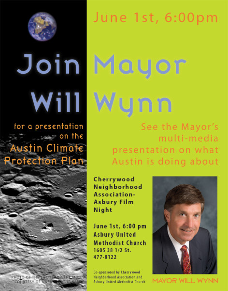 Poster for Mayor Will Wynn's Presentation on Austin Climate Protection Program