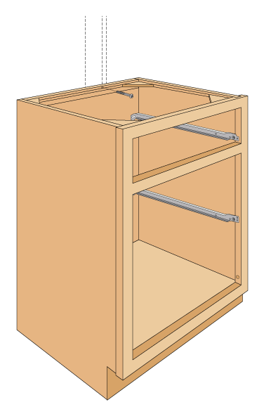 Carpentry installing base cabinets artist as designer for Attaching kitchen cabinets to wall