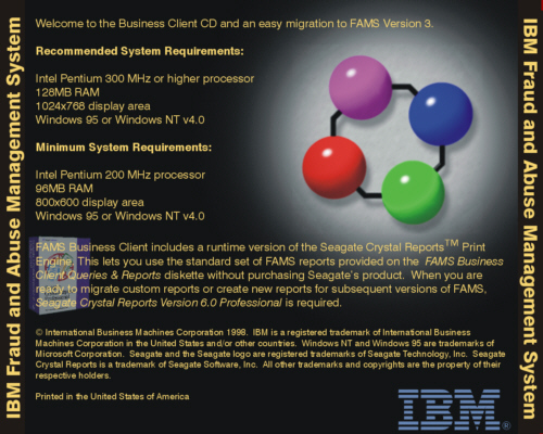IBM FAMS CD Cover Back